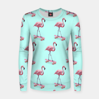 Thumbnail image of Skating Flamingo Woman cotton sweater, Live Heroes