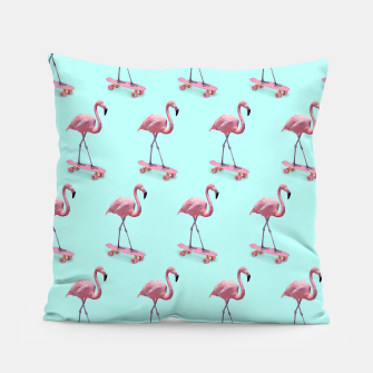 Thumbnail image of Skating Flamingo Pillow, Live Heroes