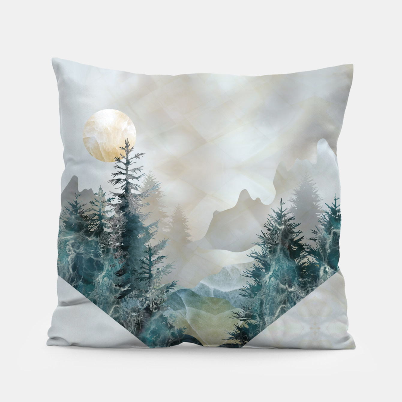 Moon Landscape in Mineral Texture on Mother of pearl Pillow, Live Heroes