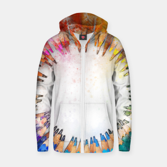 Thumbnail image of Pencil Circle Rainbow Art Design Cotton zip up hoodie, Live Heroes