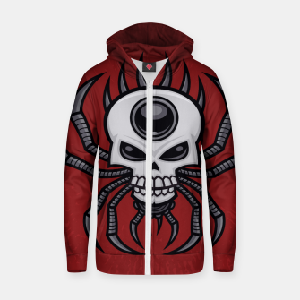 Thumbnail image of Skull Spider Cotton zip up hoodie, Live Heroes