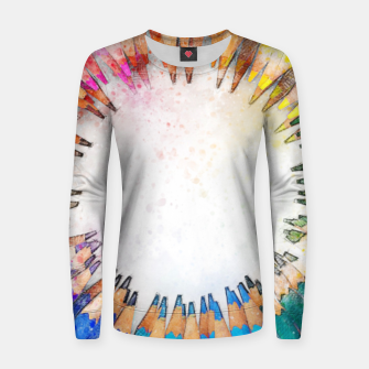 Thumbnail image of Pencil Circle Rainbow Art Design Woman cotton sweater, Live Heroes