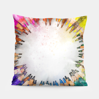 Thumbnail image of Pencil Circle Rainbow Art Design Pillow, Live Heroes