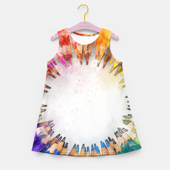 Thumbnail image of Pencil Circle Rainbow Art Design Girl's summer dress, Live Heroes