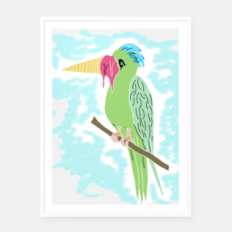 Thumbnail image of Parrot and Ice cream Framed poster, Live Heroes