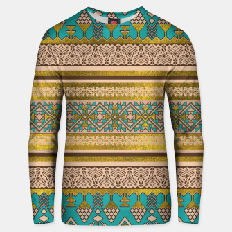 Thumbnail image of Mexican Style pattern - teal, gold and earthy colors Cotton sweater, Live Heroes