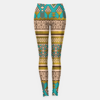 Thumbnail image of Mexican Style pattern - teal, gold and earthy colors Leggings, Live Heroes