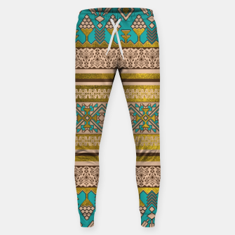 Thumbnail image of Mexican Style pattern - teal, gold and earthy colors Cotton sweatpants, Live Heroes