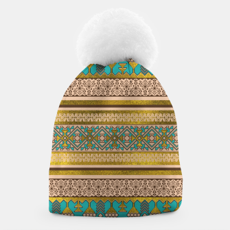 Thumbnail image of Mexican Style pattern - teal, gold and earthy colors Beanie, Live Heroes