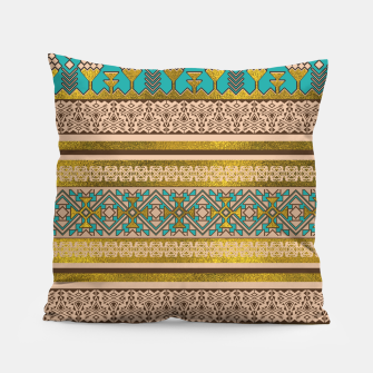 Thumbnail image of Mexican Style pattern - teal, gold and earthy colors Pillow, Live Heroes