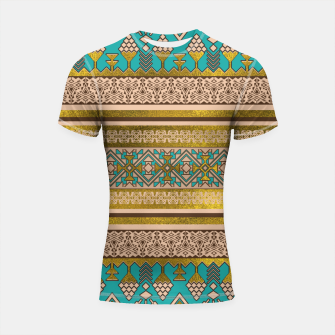 Thumbnail image of Mexican Style pattern - teal, gold and earthy colors Shortsleeve rashguard, Live Heroes