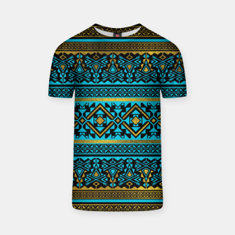 Miniaturka Mexican Style pattern - black, teal and gold T-shirt, Live Heroes