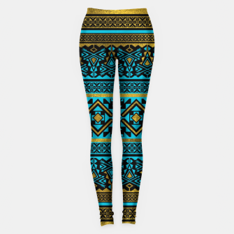 Miniaturka Mexican Style pattern - black, teal and gold Leggings, Live Heroes