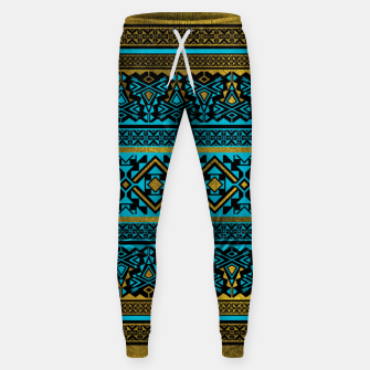 Miniaturka Mexican Style pattern - black, teal and gold Cotton sweatpants, Live Heroes