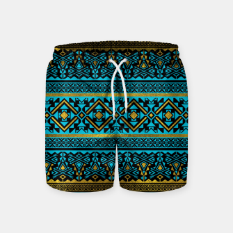 Miniaturka Mexican Style pattern - black, teal and gold Swim Shorts, Live Heroes