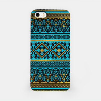 Miniaturka Mexican Style pattern - black, teal and gold iPhone Case, Live Heroes