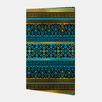 Miniaturka Mexican Style pattern - black, teal and gold Canvas, Live Heroes