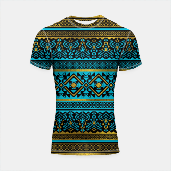 Miniaturka Mexican Style pattern - black, teal and gold Shortsleeve rashguard, Live Heroes