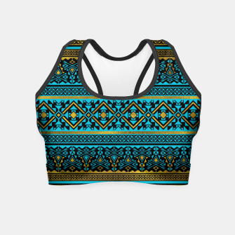Miniaturka Mexican Style pattern - black, teal and gold Crop Top, Live Heroes