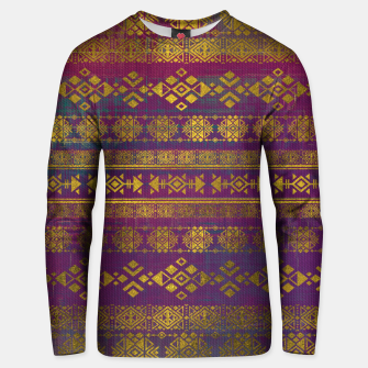 Miniaturka Mexican /Tribal Style pattern - Gold on Vintage purple Cotton sweater, Live Heroes