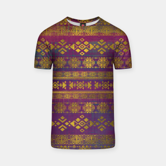 Miniaturka Mexican /Tribal Style pattern - Gold on Vintage purple T-shirt, Live Heroes