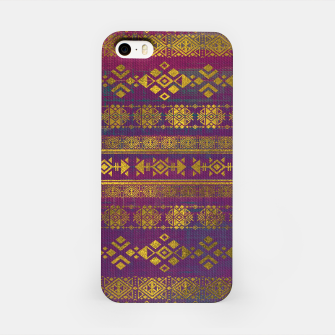 Miniaturka Mexican /Tribal Style pattern - Gold on Vintage purple iPhone Case, Live Heroes