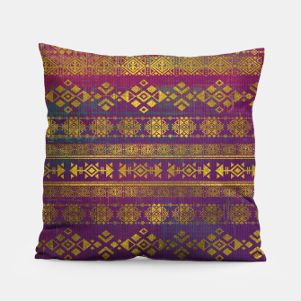 Miniaturka Mexican /Tribal Style pattern - Gold on Vintage purple Pillow, Live Heroes