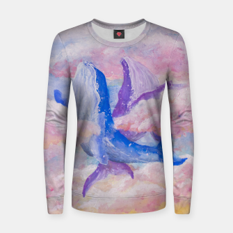 Miniatur Whales in clouds Woman cotton sweater, Live Heroes