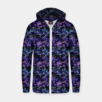 Thumbnail image of Dark Chinoiserie Vintage Floral Collage Cotton zip up hoodie, Live Heroes