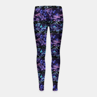 Thumbnail image of Dark Chinoiserie Vintage Floral Collage Girl's leggings, Live Heroes