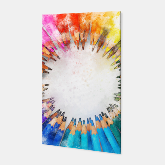 Thumbnail image of Pencil Circle Rainbow Art Design Canvas, Live Heroes