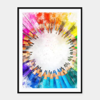 Thumbnail image of Pencil Circle Rainbow Art Design Framed poster, Live Heroes