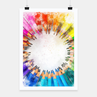 Thumbnail image of Pencil Circle Rainbow Art Design Poster, Live Heroes