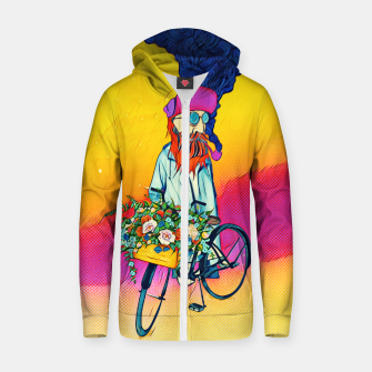Thumbnail image of Colourful Bicycle Cotton zip up hoodie, Live Heroes