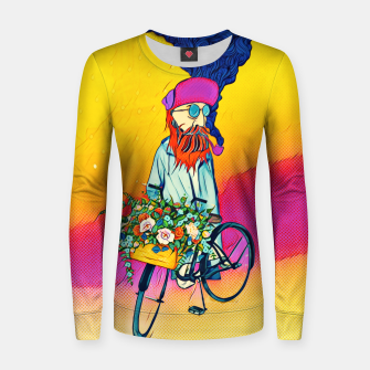 Thumbnail image of Colourful Bicycle Woman cotton sweater, Live Heroes
