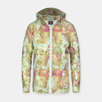Thumbnail image of Cream & Flowers Cotton zip up hoodie, Live Heroes