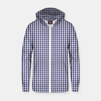 Imagen en miniatura de USA Flag Blue and White Gingham Checked Cotton zip up hoodie, Live Heroes