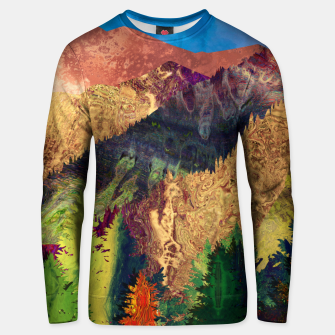 Thumbnail image of Abstract Mountain Landscape  and forest Digital Art Cotton sweater, Live Heroes