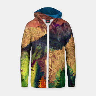 Thumbnail image of Abstract Mountain Landscape  and forest Digital Art Cotton zip up hoodie, Live Heroes