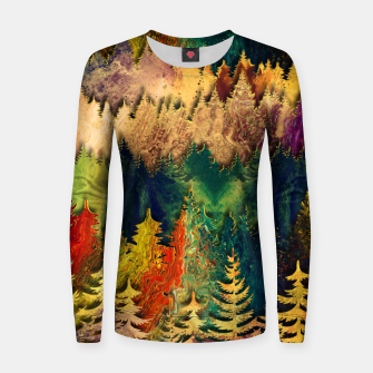 Thumbnail image of Abstract Mountain Landscape  and forest Digital Art Woman cotton sweater, Live Heroes