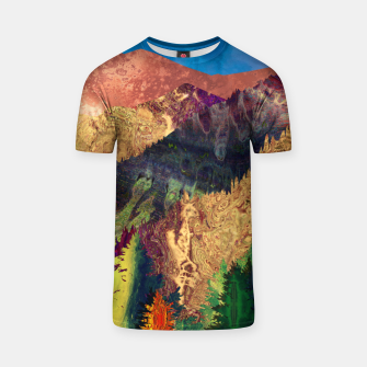 Thumbnail image of Abstract Mountain Landscape  and forest Digital Art T-shirt, Live Heroes