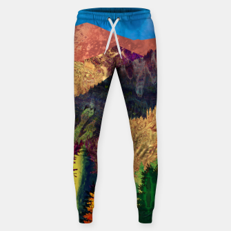 Thumbnail image of Abstract Mountain Landscape  and forest Digital Art Cotton sweatpants, Live Heroes