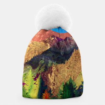 Thumbnail image of Abstract Mountain Landscape  and forest Digital Art Beanie, Live Heroes