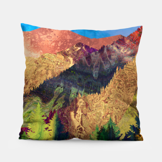 Thumbnail image of Abstract Mountain Landscape  and forest Digital Art Pillow, Live Heroes