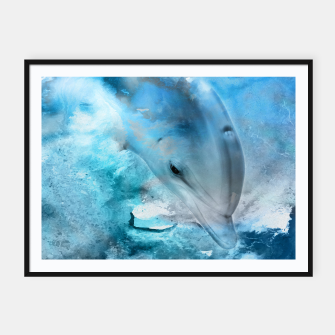 Miniature de image de Watercolor Dolphin  Digital Art Framed poster, Live Heroes