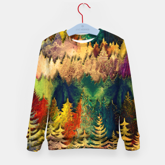 Thumbnail image of Abstract Mountain Landscape  and forest Digital Art Kid's sweater, Live Heroes