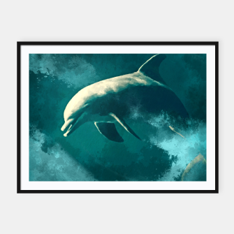 Miniatur Watercolor Wild Dolphin  Digital Art Framed poster, Live Heroes