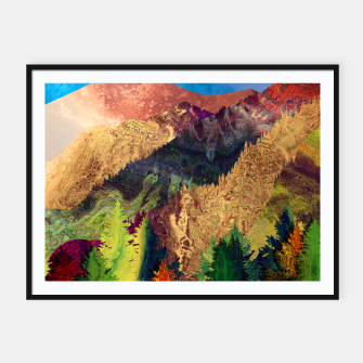 Thumbnail image of Abstract Mountain Landscape  and forest Digital Art Framed poster, Live Heroes