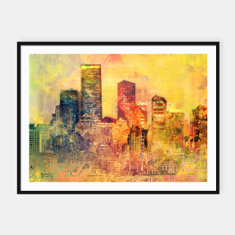 Thumbnail image of Abstract City Scape Digital Art Framed poster, Live Heroes