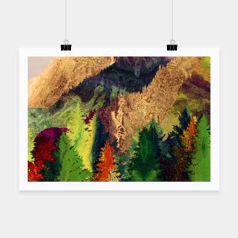 Thumbnail image of Abstract Mountain Landscape  and forest Digital Art Poster, Live Heroes